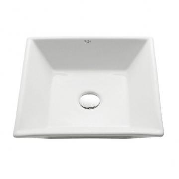 Kraus Square Ceramic Bathroom Sink in White with Pop Up Drain in Chrome