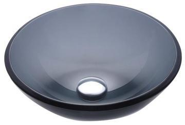 "Kraus 14"" Clear Glass Vessel Sink in Black with Drain in Oil-Rubbed Bronze"