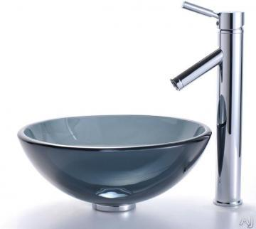 "Kraus 14"" Clear Glass Vessel Sink in Black with Sheven Faucet in Chrome"