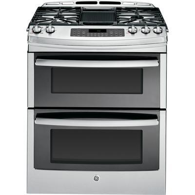 "GE 6.7 cu. ft. 30"" Slide-In Self-Cleaning Gas Convection Double Oven Range in Stainless Steel"