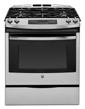 "GE 5.4 cu. ft. 30"" Slide-In Self-Cleaning Gas Range in Stainless Steel"