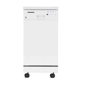 "GE 18"" Portable Dishwasher with Short Stainless Steel Tub in White"