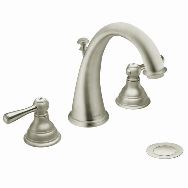 Moen Kingsley Widespread 2-Handle Bathroom Faucet in Brushed Nickel Finish