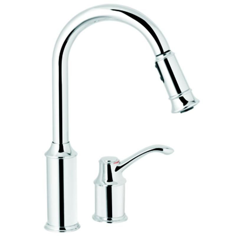 Moen Aberdeen 1 Handle Kitchen Faucet with Matching Pulldown Wand - Chrome Finish