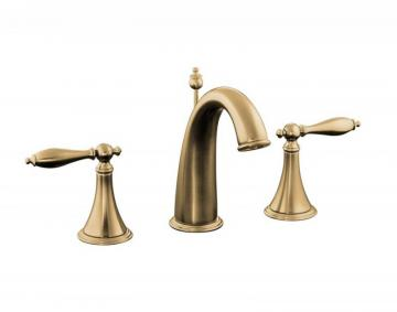 Kohler Finial Traditional Widespread Bathroom Faucet with Lever Handles in Vibrant Brushed Bronze