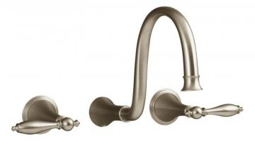 Kohler Finial Traditional Wall-Mount Bathroom Faucet with Lever Handles in Vibrant Brushed Bronze