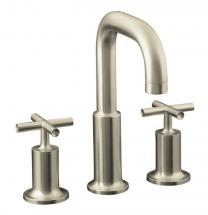 Kohler Purist Deck-Mount High-Flow Bathroom Faucet in Vibrant Brushed Nickel Finish
