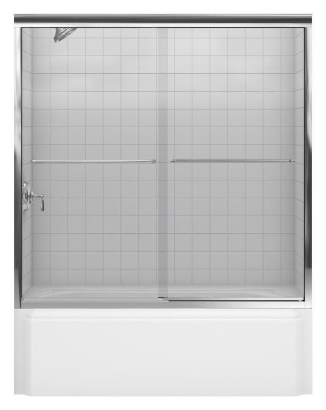 Kohler Fluence Frameless Bypass Bath Door in Bright Polished Silver