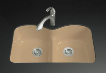 Kohler Langlade Smart Divide Undercounter Kitchen Sink in Mexican Sand