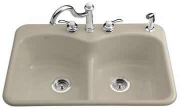 Kohler Langlade Smart Divide Self-Rimming Kitchen Sink in Sandbar