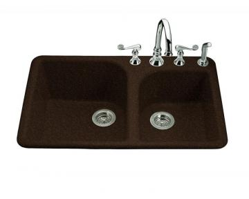 Kohler Executive Chef Self-Rimming Kitchen Sink in Black  Footn Tan