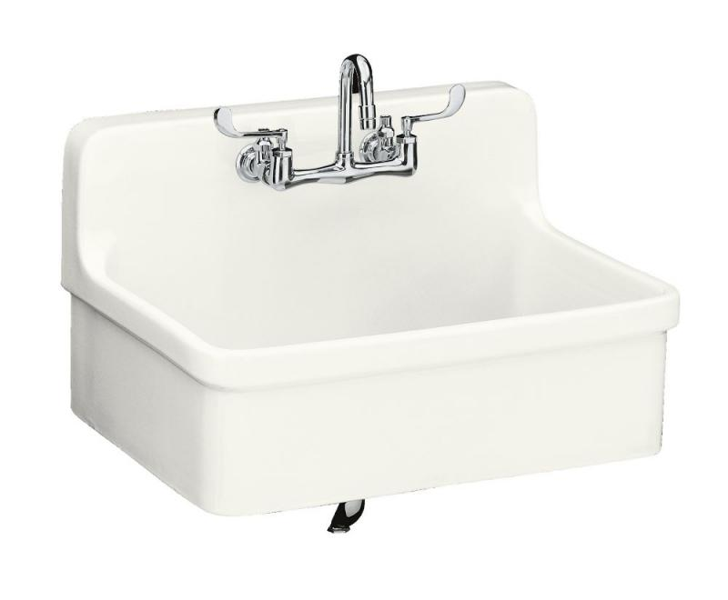 Kohler Gilford Apron-Front Wall-Mount Kitchen Sink in White