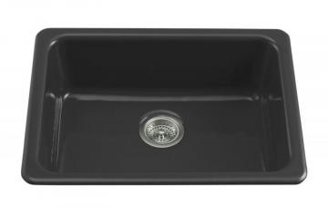 Kohler Iron/Tones Self-Rimming/ Undercounter Kitchen Sink in Black Black