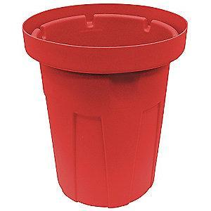 "Tough Guy 50 gal. Round Open Top Utility Food-Grade Waste Container, 34-1/2""H, Red"