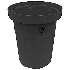 "Tough Guy 50 gal. Round Open Top Utility Food-Grade Waste Container, 34-1/2""H, Black"