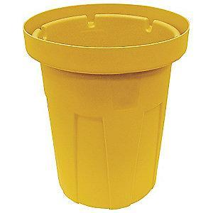 "Tough Guy 50 gal. Round Open Top Utility Food-Grade Waste Container, 34-1/2""H, Yellow"