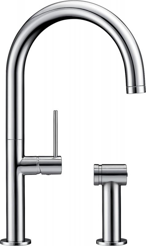 Blanco Solid Spout Faucet With Sidespray Chrome