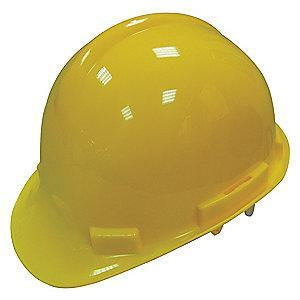Condor Front Brim Hard Hat, 4 pt. Pinlock Suspension, Yellow, Hat Size: 6-1/2 to 8