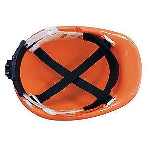 Condor Front Brim Hard Hat, 4 pt. Ratchet Suspension, Hi-Visibility Orange, Hat Size: 6-1/2 to 8