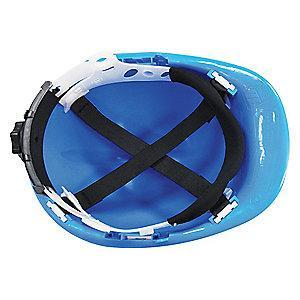 Condor Front Brim Hard Hat, 4 pt. Ratchet Suspension, Blue, Hat Size: 6-1/2 to 8