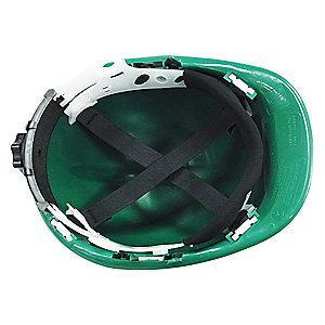 Condor Front Brim Hard Hat, 4 pt. Ratchet Suspension, Green, Hat Size: 6-1/2 to 8