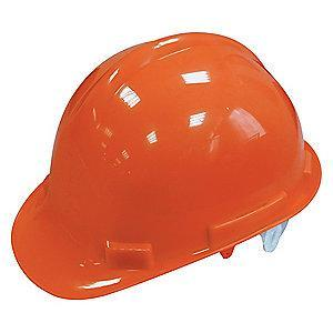 Condor Front Brim Hard Hat, 4 pt. Pinlock Suspension, Hi-Visibility Orange, Hat Size: 6 to 7-1/8