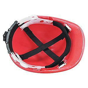 Condor Front Brim Hard Hat, 4 pt. Ratchet Suspension, Red, Hat Size: 6-1/2 to 8