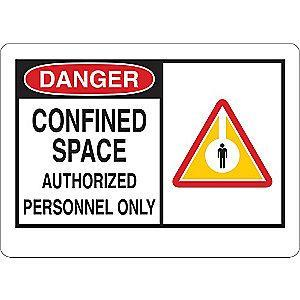 "Condor Confined Space, Danger, Plastic, 7"" x 10"", With Mounting Holes"