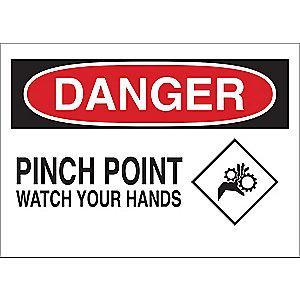 "Condor Keep Hands Clear, Danger, Aluminum, 10"" x 14"", With Mounting Holes"