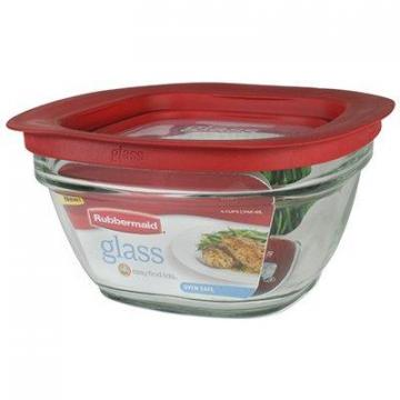 Rubbermaid Food Storage Container, Glass, 4-Cup Square