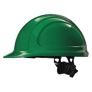 Honeywell Front Brim Hard Hat, 4 pt. Ratchet Suspension, Green, Hat Size: 6-1/2 to 8