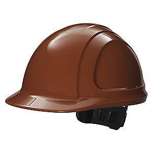 Honeywell Front Brim Hard Hat, 4 pt. Ratchet Suspension, Brown, Hat Size: 6-1/2 to 8