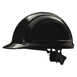 Honeywell Front Brim Hard Hat, 4 pt. Ratchet Suspension, Black, Hat Size: 6-5/8 to 7-3/4