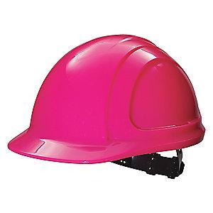 Honeywell Front Brim Hard Hat, 4 pt. Ratchet Suspension, Hot Pink, Hat Size: 6-1/2 to 8