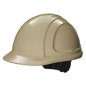 Honeywell Front Brim Hard Hat, 4 pt. Ratchet Suspension, Tan, Hat Size: 6-5/8 to 7-3/4