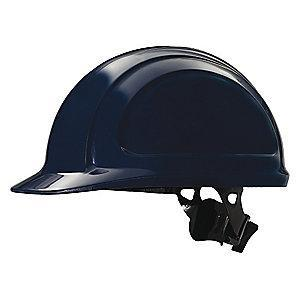 Honeywell Front Brim Hard Hat, 4 pt. Ratchet Suspension, Navy, Hat Size: 6-1/2 to 8