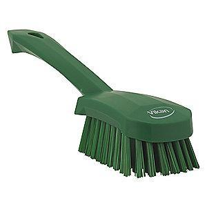 "Vikan 10"" Polyester Short Handle Scrub Brush, Green"