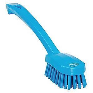 "Vikan 10-1/4"" Polyester Short Handle Scrub Brush, Blue"