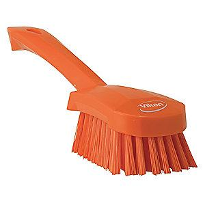 "Vikan 10"" Polyester Short Handle Scrub Brush, Orange"