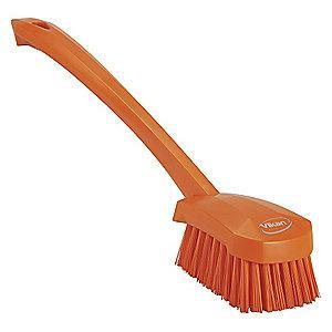 "Vikan 16"" Polyester Short Handle Scrub Brush, Orange"