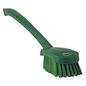 "Vikan 16"" Polyester Short Handle Scrub Brush, Green"