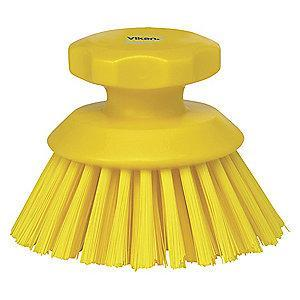 "Vikan 5"" Polyester Short Handle Scrub Brush, Yellow"