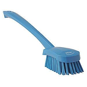 "Vikan 16"" Polyester Short Handle Scrub Brush, Blue"