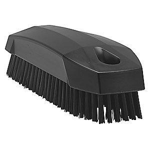 "Vikan 4-57/64"" Polyester Block Hand and Nail Brush, Black"
