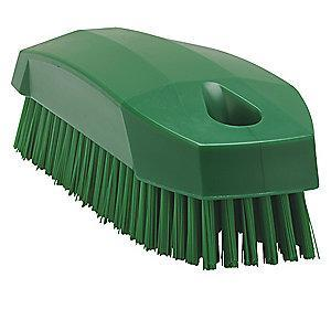"Vikan 4-57/64"" Polyester Block Hand and Nail Brush, Green"