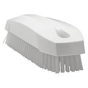 "Vikan 4-57/64"" Polyester Block Hand and Nail Brush, White"