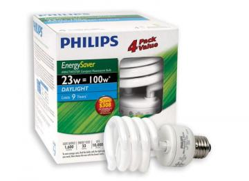 Philips CFL 23W = 100W  Mini Twister Daylight (6500K) - 4 Pack