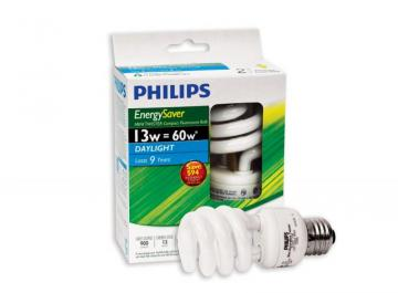 Philips CFL 13W = 60W Mini Twister Daylight (6500K) - Case of 12 Bulbs