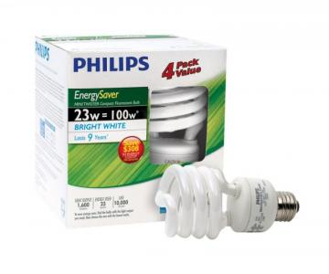 Philips CFL 23W = 100W  Mini Twister Bright White (5000K) - 4 Pack