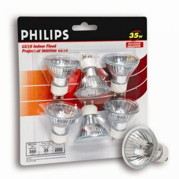 Philips 35 Watt Halogen GU10 Flood Bulb - 6 Pack